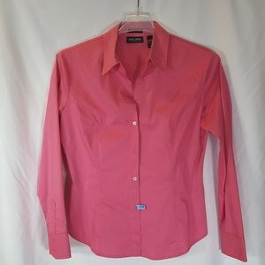 New York & Company Pink Stretch Button Up EUC Lrge